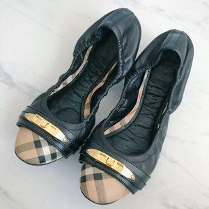 Burberry Drayton Check Black Leather Ballet Flats